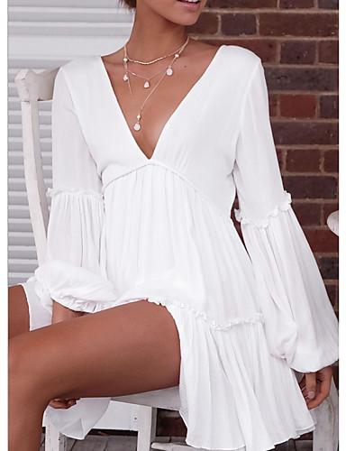 preiswerte Weiße und Schwarze Kleider-Damen Ausgehen Strand A-Linie Kleid - Patchwork Mini Tiefes V / Sexy