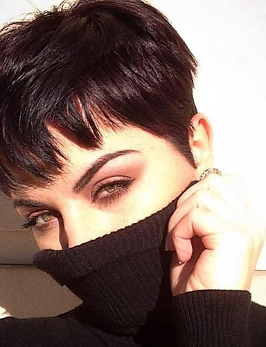 povoljno Perike s ljudskom kosom-Ljudska kosa Lace Front Perika Pixie frizura stil Brazilska kosa Ravan kroj Crna Perika 130% Gustoća kose Žene Žene Kratko Others Clytie