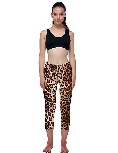 povoljno Odjeća za fitness, trčanje i jogu-Žene Hlače za jogu Leopard Trčanje Fitness Trening u teretani 3/4 Hulahopke 3/4 Capri hlače Odjeća za rekreaciju Ovlaživanje Rastezljivo Uske