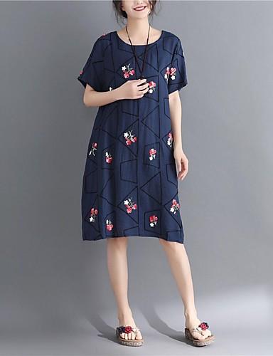 voordelige Grote maten jurken-Dames Grote maten Vintage Chinoiserie Recht Jurk - Tribal, Print Strakke ronde hals Midi