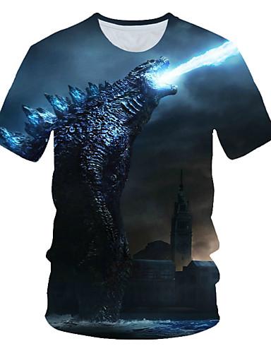 voordelige Heren T-shirts & tanktops-Heren Standaard / Street chic Print Grote maten - T-shirt Strand Kleurenblok / 3D / dier Ronde hals Marineblauw / Korte mouw
