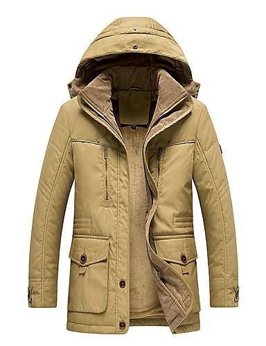 levne Pánské kabáty a parky-Pánské Jednobarevné Standardní Parka, POLY Černá / Žlutá / Armádní zelená XXXL / XXXXL / XXXXXL