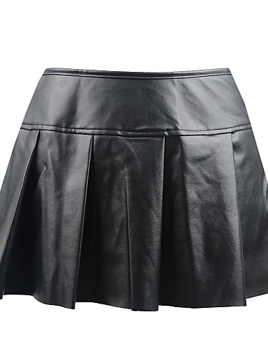 povoljno Seksi donje rublje-Normal PU Haljina & Suknje Super seksi Jednobojni Special Occasion Blistati Suknja