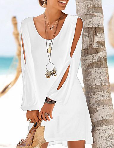 preiswerte Strandkleider-Damen Etuikleid Kleid - Gespleisst Chiffon Mini / Festtage / Ausgehen / Strand