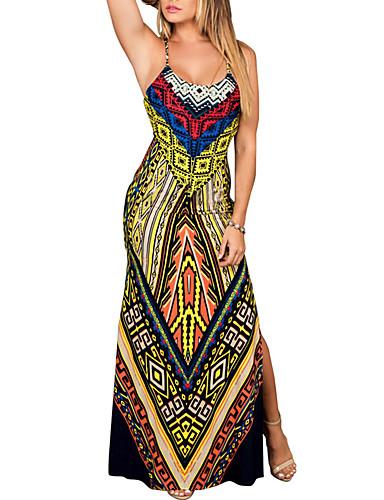 Жен. Классический Уличный стиль Облегающий силуэт Оболочка Платье - Геометрический принт Этно, С принтом Средней длины