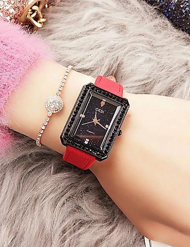 בגדי ריקוד נשים שעון מכני קווארץ עור אמיתי עמיד במים אנלוגי אופנתי - שחור אדום / מתכת אל חלד