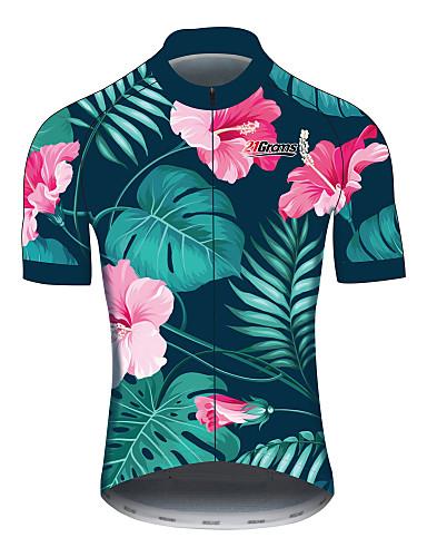 povoljno Odjeća za vožnju biciklom-21Grams Cvjetni / Botanički Havaji Muškarci Kratkih rukava Biciklistička majica - Tamno zelena Bicikl Biciklistička majica Majice Prozračnost Ovlaživanje Quick dry Sportski 100% poliester Brdski