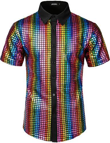 levne Pánské košile-Pánské - Jednobarevné / Geometrický Rokové / Punk & Gothic EU / US velikost Košile Bavlna Duhová / Krátký rukáv