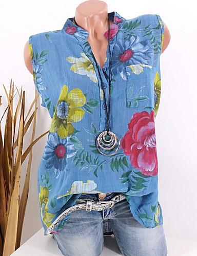 billige Dametopper-V-hals Store størrelser Skjorte Dame - Blomstret, Blomster / Trykt mønster Grunnleggende Grønn / Vår / Sommer / Høst