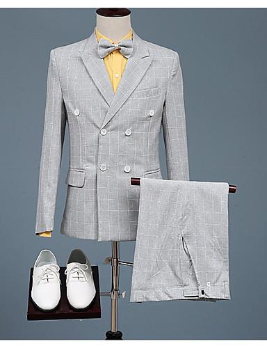 levne Pánské blejzry a saka-Pánské Obleky, Pepito Košilový límec Polyester Světlá růžová / Světle šedá / Štíhlý
