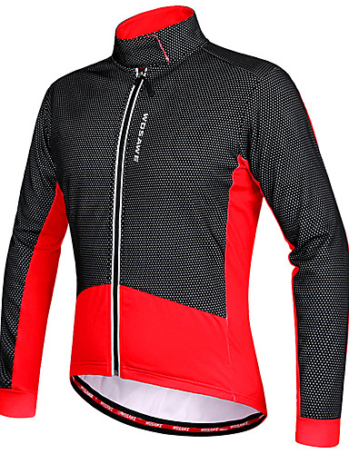 povoljno Odjeća za vožnju biciklom-WOSAWE Muškarci Biciklistička jakna Bicikl Zima Flis jakne Majice Ugrijati Vodootporni patent Sportski Poliester Runo Zima Crveno crno / Crna / Green Brdski biciklizam biciklom na cesti Odjeća