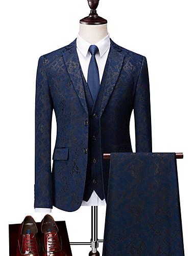 levne Pánské blejzry a saka-Pánské Větší velikosti Obleky, Geometrický Košilový límec Polyester Černá / Vodní modrá / Štíhlý