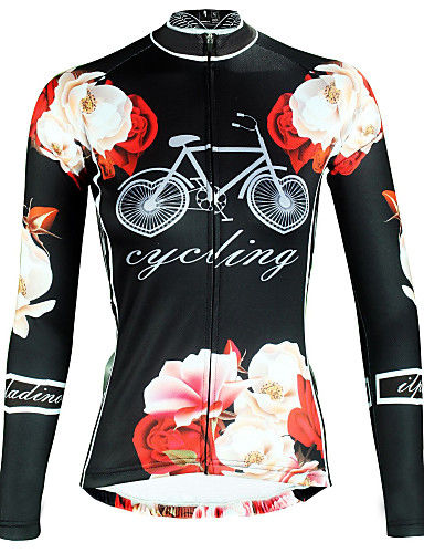 povoljno Odjeća za vožnju biciklom-ILPALADINO Žene Dugih rukava Biciklistička majica Crn Cvjetni / Botanički Bicikl Majice Brdski biciklizam biciklom na cesti Prozračnost Quick dry Ultraviolet Resistant Sportski Zima Elastan Odjeća