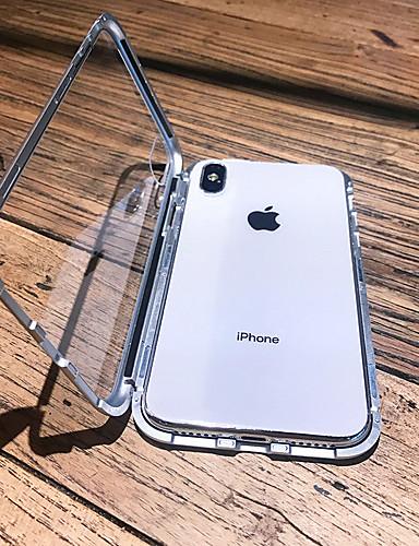 מארז iPhone XS מקס / iPhone x מגנטי / שקוף גוף מלא המקרים מוצק צבע קשה מתכת עבור iPhone 6 / iPhone 6 פלוס / iPhone 6s