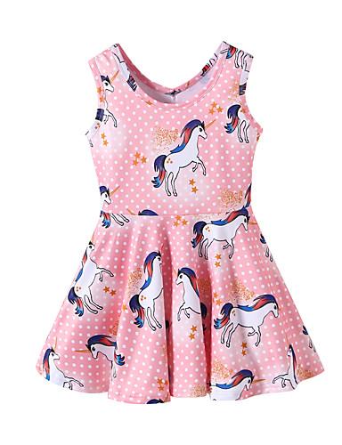 preiswerte Unicorn Dresses-Kinder Baby Mädchen Süß nette Art Pferd Unicorn Tier Cartoon Design Patchwork Druck Ärmellos Knielang Kleid Rosa / Baumwolle