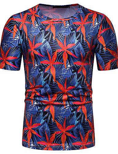 פרחוני / 3D צווארון עגול בסיסי / סגנון רחוב טישרט - בגדי ריקוד גברים דפוס פול / שרוולים קצרים