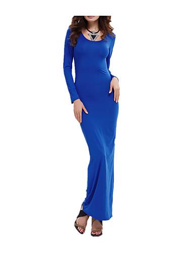 levne Maxi šaty-Dámské Klub Plážové Štíhlý Bodycon Pouzdro Šaty - Jednobarevné Maxi Modrá