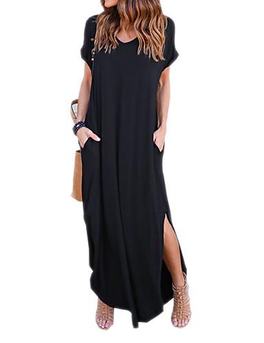levne Maxi šaty-Dámské Šik ven Bavlna Volné Tunika Šaty - Jednobarevné Maxi Černá / Štíhlý