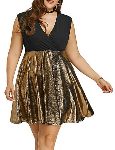 voordelige Grote maten jurken-Dames Verfijnd Elegant Chiffon Jurk - Kleurenblok, Patchwork Boven de knie