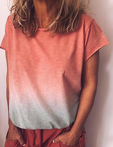 billige Dametopper-Løstsittende Store størrelser T-skjorte Dame - Geometrisk / Fargeblokk Gatemote / Punk & Gotisk Ut på byen Lysegrønn