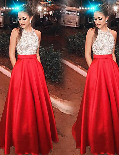 povoljno Crvene party haljine-A-kroj Na vezanje oko vrata Do poda Saten / Sa šljokicama Otvorena leđa Prom Haljina s po LAN TING Express