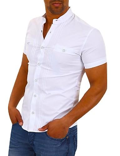 Skjorte Herre - Ensfarget Grunnleggende / Elegant Svart