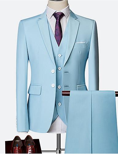 levne Pánské blejzry a saka-Pánské Větší velikosti Obleky, Jednobarevné Košilový límec Polyester Fialová / Světle modrá / Námořnická modř / Štíhlý
