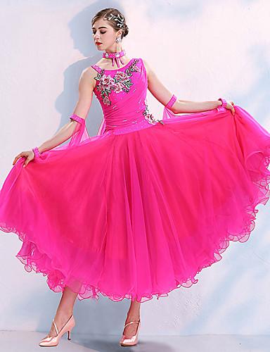 cheap Ballroom Dancewear-Ballroom Dance Dress Embroidery Appliques Crystals / Rhinestones Women's Training Performance Sleeveless Natural Spandex Polyster