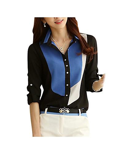 billige Skjorter til damer-Skjortekrage Skjorte Dame - Fargeblokk, Lapper Arbeid / Strand Svart / Sommer