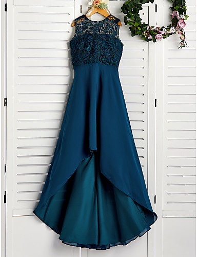 cheap Junior Bridesmaid Dresses-A-Line Jewel Neck Asymmetrical Chiffon / Lace Junior Bridesmaid Dress with Lace