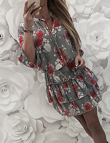 preiswerte Damen Kleider-Damen A-Linie Kleid - Blumig, Blumen Mini V-Ausschnitt