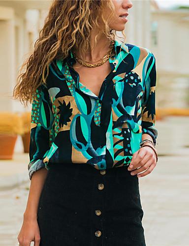billige Dametopper-Skjorte Dame - Grafisk, Trykt mønster Vintage / Grunnleggende Blå