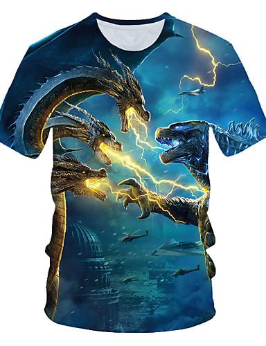 voordelige Heren T-shirts & tanktops-Heren Standaard / Street chic Print Grote maten - T-shirt Strand Kleurenblok / 3D / dier Ronde hals blauw / Korte mouw
