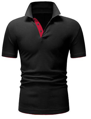 voordelige Herenpolo's-Heren Standaard Polo Katoen Kleurenblok Overhemdkraag Zwart / Korte mouw