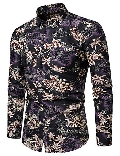 voordelige Herenoverhemden-Heren Punk & Gothic Print Overhemd Club Bloemen / Grafisch / Tribal Klassieke boord blauw / Lange mouw