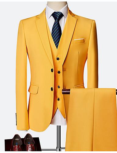 voordelige Herenblazers & kostuums-Heren Grote maten Pakken, Effen Overhemdkraag Polyester Wijn / Licht Blauw / Marine Blauw / Slank