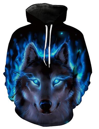 voordelige Herenbovenkleding-Heren Standaard / overdreven Print Heren Sweaters Kleurenblok / 3D / dier blauw