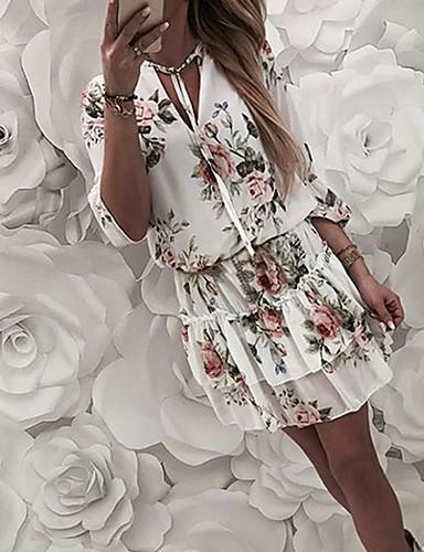 Жен. А-силуэт Платье - Цветочный принт Мини