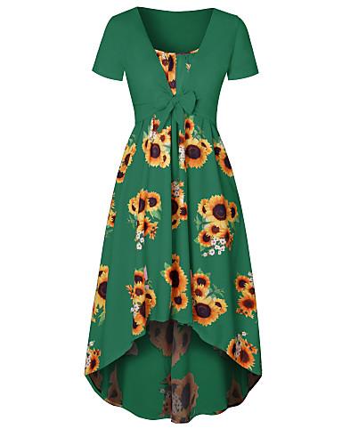 billige Todelt dress til damer-Dame Sett Kjoler - Sløyfe, Blomstret
