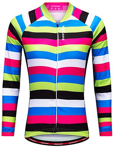 povoljno Biciklističke majice-WOSAWE Žene Dugih rukava Biciklistička majica Crna / Green Bicikl Biciklistička majica Majice Brdski biciklizam biciklom na cesti Quick dry Sportski Poliester Odjeća / Rastezljivo / Napredan