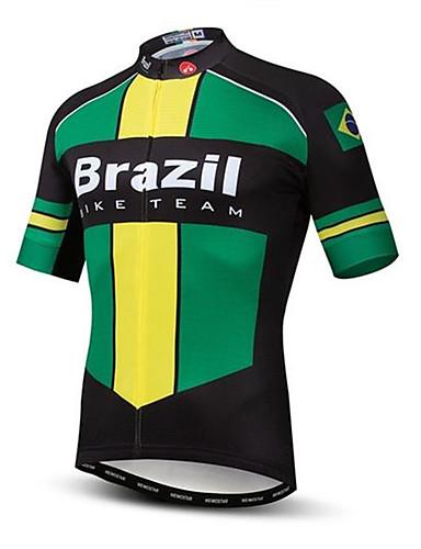 povoljno Odjeća za vožnju biciklom-21Grams Brazil Državne zastave Muškarci Kratkih rukava Biciklistička majica - Zelena  / Žuta Bicikl Majice UV otporan Prozračnost Ovlaživanje Sportski Terilen Brdski biciklizam biciklom na cesti