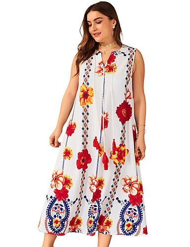levne Šaty velkých velikostí-Dámské Elegantní Swing Šaty - Geometrický, Síťka Midi