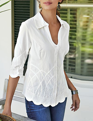 billige Skjorter til damer-V-hals Bluse Dame - Ensfarget Hvit