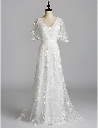 preiswerte Weiße Partykleider-A-Linie V-Wire Ausschnitt Pinsel Schleppe Spitze Kleid mit Spitzeneinsatz durch LAN TING Express