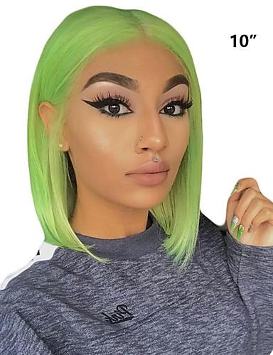 povoljno Perike s ljudskom kosom-Remy kosa Lace Front Perika Srednji dio stil Brazilska kosa Ravan kroj Zelena Perika 130% Gustoća kose Nježno Žene Najbolja kvaliteta Rasprodaja Prirodna linija za kosu Žene Kratko Perike s ljudskom