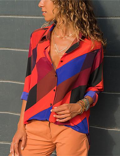 billige Dametopper-Skjortekrage Bluse Dame - Stripet Navyblå