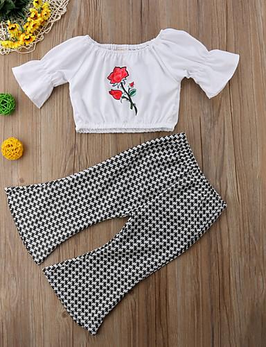 סט של בגדים כותנה שרוולים קצרים Houndstooth בסיסי / סגנון רחוב בנות תִינוֹק / פעוטות
