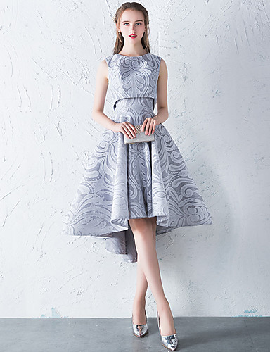preiswerte Kleider für die Schul- oder Studienabschlussfeier-A-Linie / Zweiteiler Schmuck Asymmetrisch Spitze Cocktailparty Kleid mit durch LAN TING Express
