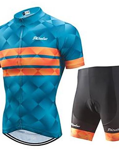 povoljno Odjeća za vožnju biciklom-Muškarci Kratkih rukava Biciklistička majica s kratkim hlačama Blue + Orange Bicikl Sportska odijela Prozračnost Quick dry Ultraviolet Resistant Sportski Vodoravne trake Brdski biciklizam biciklom na