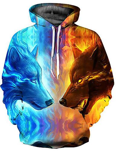 levne Pánské topy-Pánské - Barevné bloky / 3D / Zvíře Základní / Přehnaný Mikiny a svetry s kapucí, Tisk Světle modrá